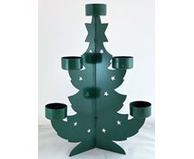 CHR.TREE IRON T-LIGHT 33CM DARKGREEN