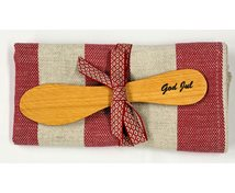 SET STRIPE RED/BEIGE TOWEL WITH KNIFE