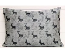 CUSIONCOVER 60X40CM BL.REINDEER/WHITE