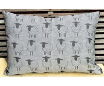 CUSION COVER 60X40CM BL.SHEEP/WHITE