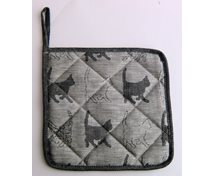 POTHOLDER 21X21CM BLACK CAT/WHITE