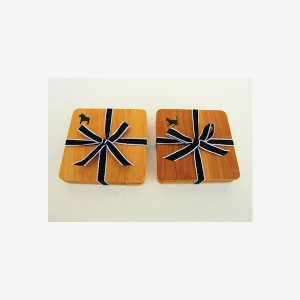 SET4- COASTERS ALDER WITH RIBBON AND PRINT