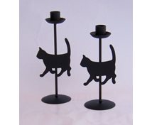 CANDLEHOLDER CAT BLACK