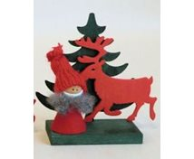SANTA RED W.REINDEER/TREE 10CM