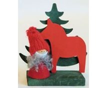 SANTA RED W.HORSE/TREE 10CM