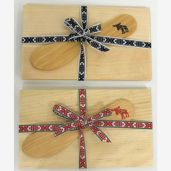SET PLATE/KNIFE BIRCH WITH MOOSE PRINT AND RIBBON