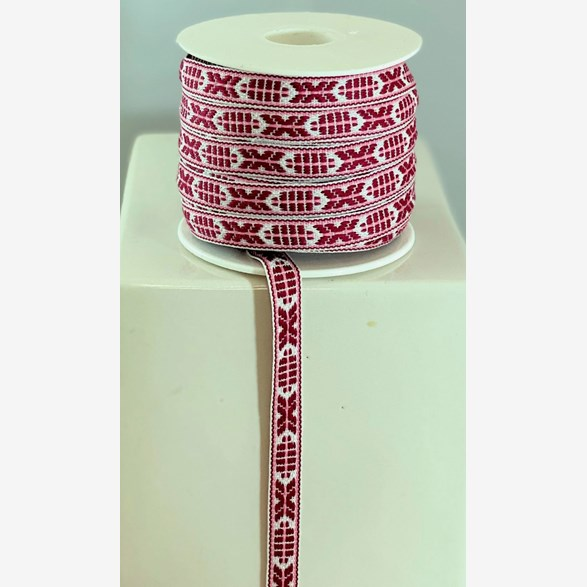 RIBBON 9MM BORD.PINK 25m/roll