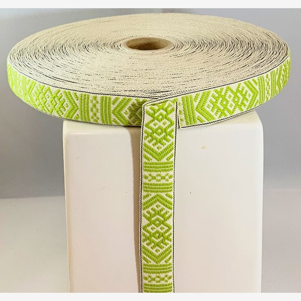 RIBBON 18MM L.GREENWHITE 25m/roll