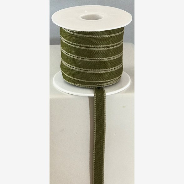 RIBBON 10MM OLIVGREEN/BEIGE STRIPE 25m/roll